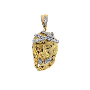 Avital & Co Jewelry 0.75 Carat Diamond Jesus Head Pendant 14k Yellow Gold