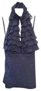 Arden B. Silk Ruffle Blue Halter Top