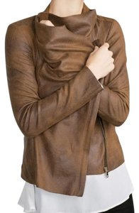 Faux Suede Overshirt jacket coat Zara Camel 2969/240 size XS Brown camel tan Leather Jacket