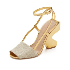 Tory Burch Gold and Beige Platforms