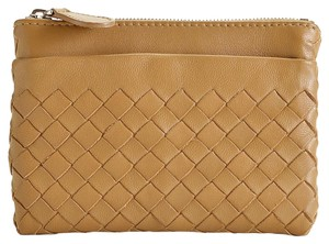 Bottega Veneta RDC7550 Bottega Veneta Camel Intrecciato Leather Key Pouch