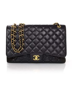 Chanel Caviar Leather Flap Classic Gold Hardware Cross Body Bag