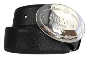 Prada Ladies Saffiano Leather 34 85cm Black Belt Oval Logo Buckle