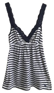 Abercrombie & Fitch Top Navy Blue and White Striped
