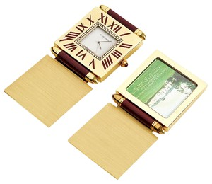 Cartier RDC7553 Cartier Burgundy and Gold Travel Clock and Photo Frame