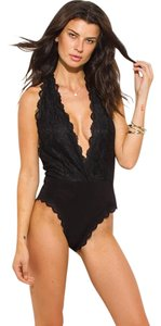 Trendi Apparels Lace Bodysuit V-neck Top Black
