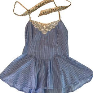 Free People Halter Embroidered Boho Top Blue