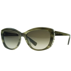 Valentino Valentino Striped Khaki Oval Sunglasses