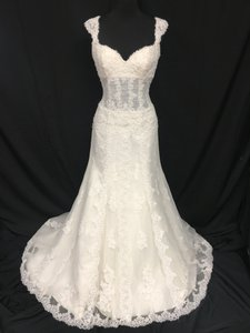Pronovias Off White Lace Patty Sexy Wedding Dress Size 4 (S)