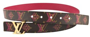 Louis Vuitton #9090 Rainbow Monogram Canvas LV Initiales Reversible Belt Size 90/36