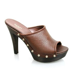 Gucci Leather Diamante Clog Brown Platforms