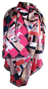 Chanel LARGE 16C Silk Tweed Printed Pink Blue White Black Scarf #816