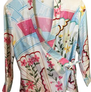 Anthropologie Top White with pale blue, pink, scarlet, green, yellow