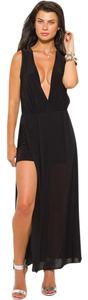 Black Maxi Dress by Trendi Apparels Deep V V-neck Slit Night Out