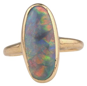 Rare $5600 14k Yellow Gold Natural Harlequin Black Opal Ring