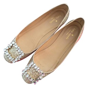 Kate Spade Norella Glitter Patent Leather Gold Flats