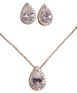 Brilliant Bridesmaid Water Drop Cz Rose Gold Gift Set