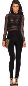 Trendi Apparels Black Sheer Mesh Long Sleeve Backless Clubwear Catsuit Jumpsuit