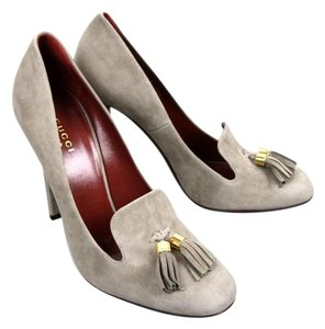 Gucci Suede Mischa Tassel Moccasin Gray Pumps