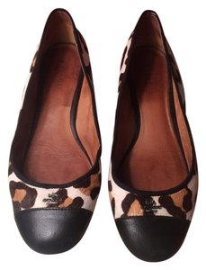 Coach Leather Flat Leopard Off white/black Flats