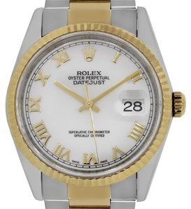 Rolex Rolex Datejust 16233 Two Tone White Roman Dial Mens Watch
