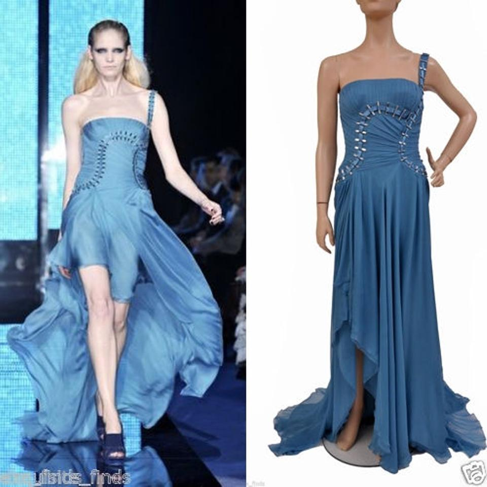 Versace Blue New Shoulder Silk Gown Long Formal Dress Size 6 (S ...