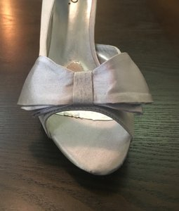 RSVP Open Toe Silver Satin Pumps With Bow Wedding Shoes