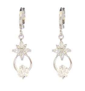 Flower Stud Dangle Classic Drop Rhodium Silver Earrings