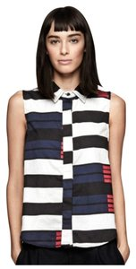 Rag & Bone Leather Edgy Crop Swing Button Down Shirt Brighton Stripe