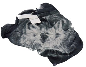 Valentino Valentino Mens Womens Black Wolf Printed Scarf With Fringes Cashmere