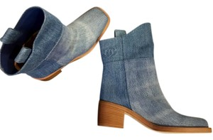 Chanel Blue Denim Boots