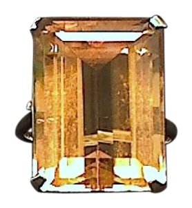 14K Yellow Gold Emerald Cut Citrine Ring Approx 20 cts!