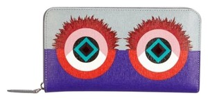 Fendi Monster Crayons Studded Saffiano Leather Zip Wallet