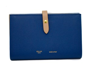 Cline Celine Womens Blue & Nude Leather Large Multifunction Wallet