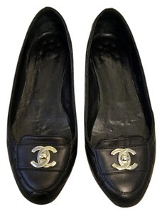 Chanel Quilted Lamb Skin Black Flats