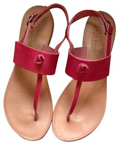 Joie Leather Flats Thong Pink Sandals