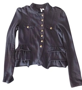 Frenchi Buttons Ruffles Date Night Sweater Black Blazer