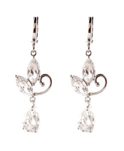 Openwork Petal Cubic Zirconia Dangle Classic Leverback Earrings