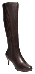 Cole Haan Knee High Leather Tall Dark Dull Gray Greige Boots
