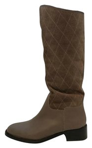 Donald J. Pliner Riding Quilted Tan Suede Leather Taupe Boots