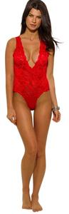 Trendi Apparels Lace Bodysuit Lace Trim Top Red