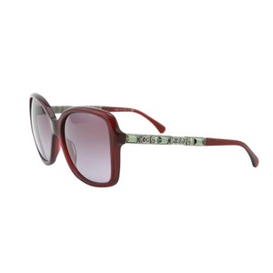 Chanel New CHANEL CH 5308 539S Sunglasses Burgundy Square Bijou Crystals