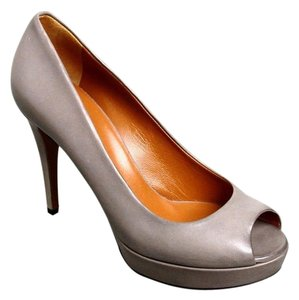 Gucci Betty Open-toe Platform Light Gray Pumps
