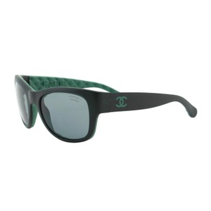 Chanel New CHANEL 6049 Women Polarized Quilting Sunglasses Black & Green