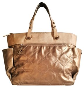 Chanel Silver Hardware Gold Canvas Quilted Chain Tote