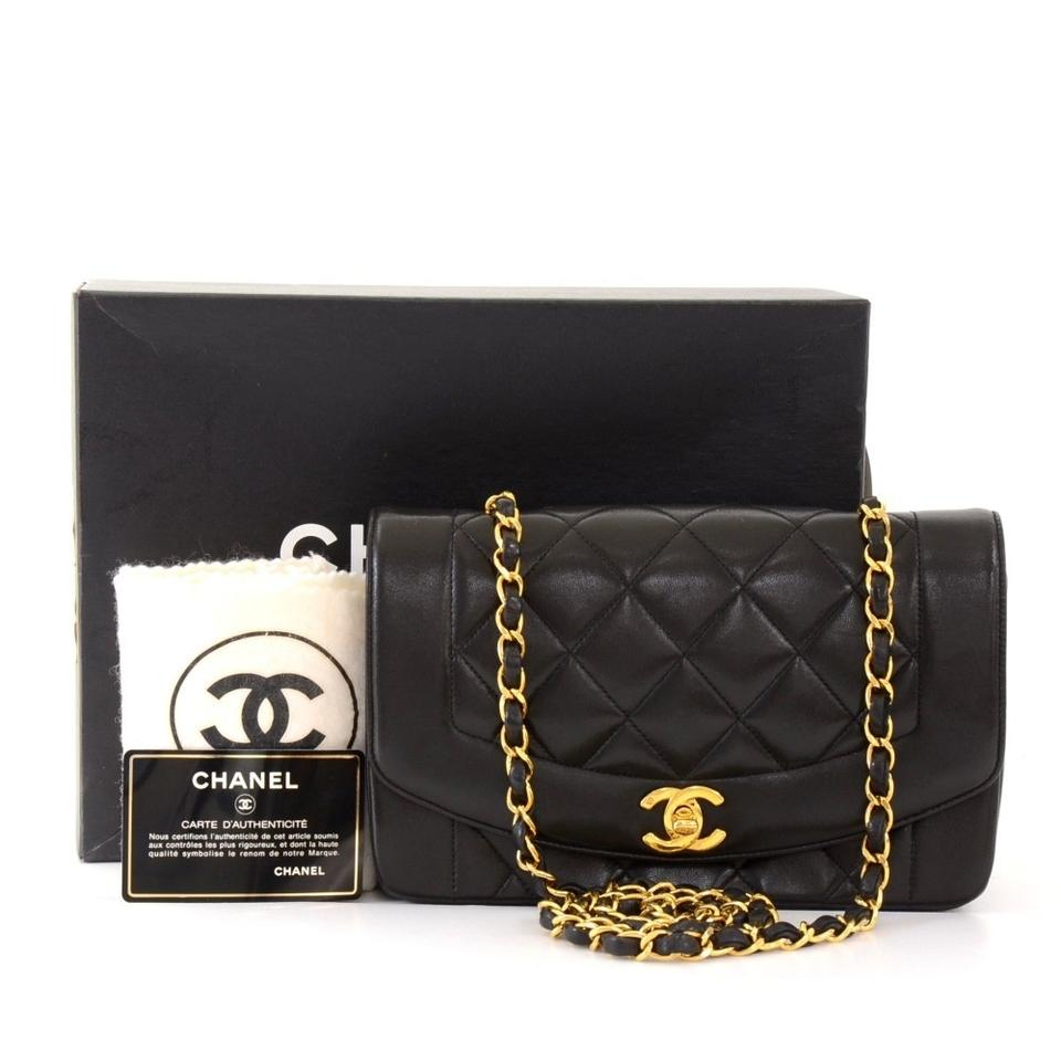 26d88be67d7 Chanel Classic Flap Clutch Diana Vintage Lady Small Black Lambskin Leather  Cross Body Bag