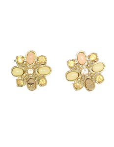 Chanel Chanel Goldtone Multistone Clip-On Earrings