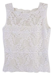 Kay Celine Sleeveless Lace Stretchy Top White