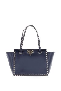 Valentino Leather Tote in Navy