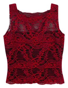Kay Celine Sleeveless Stretchy Lace Top Red